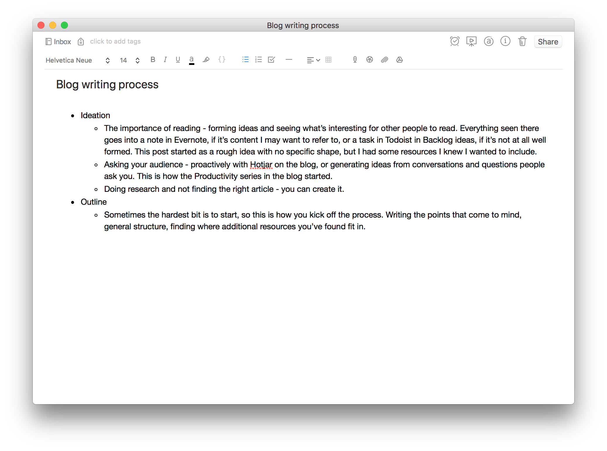 blog post writing outline