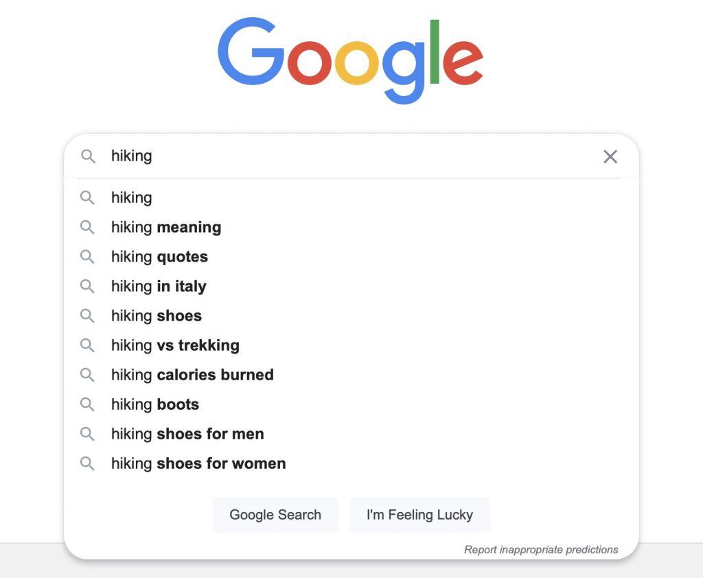 topic research google auto-complete