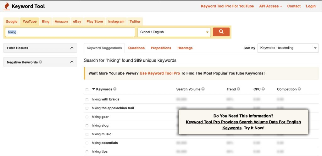 topic research keywordtool.io